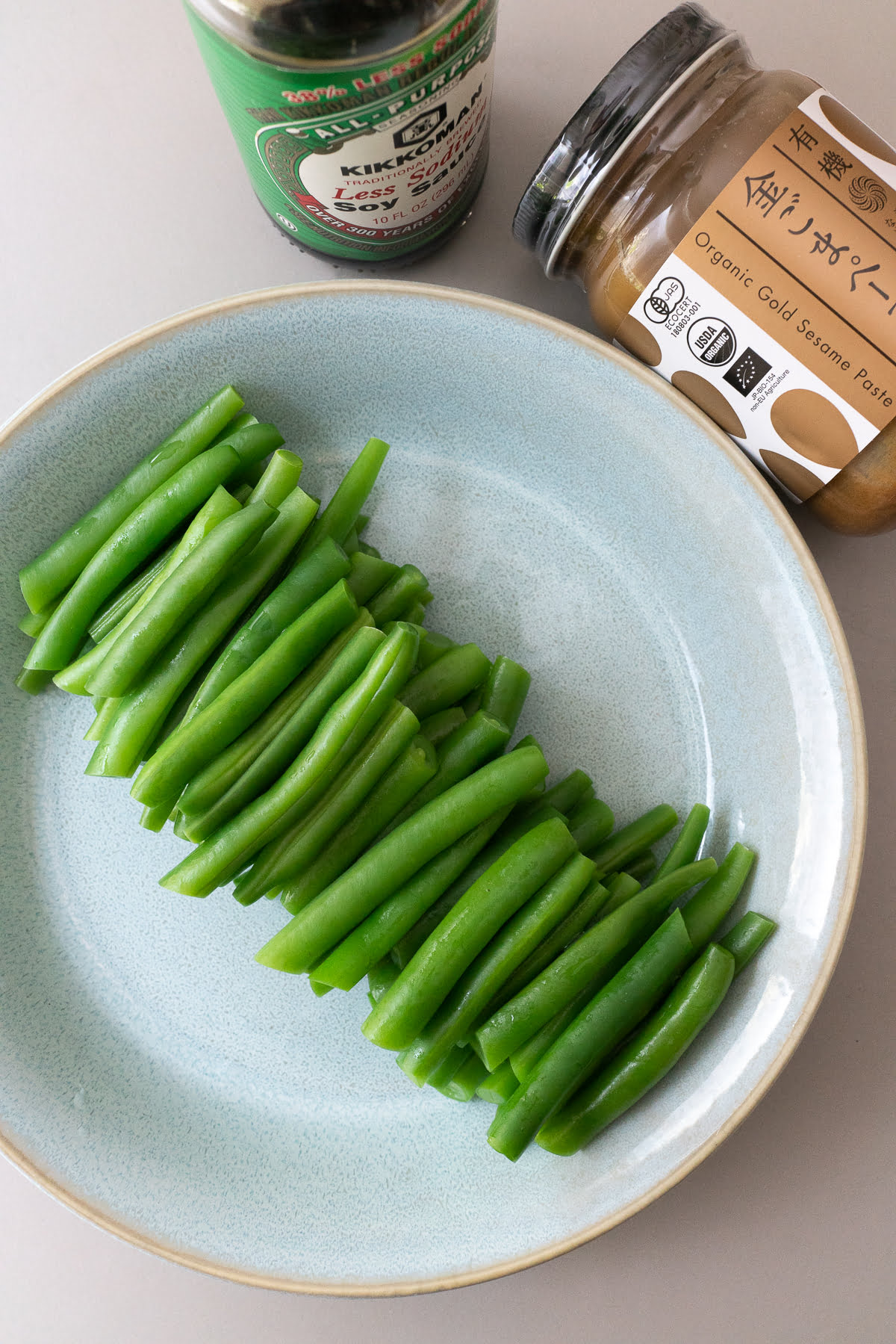 Ingredients for Green Beans with Sesame Dressing (Gomaae).