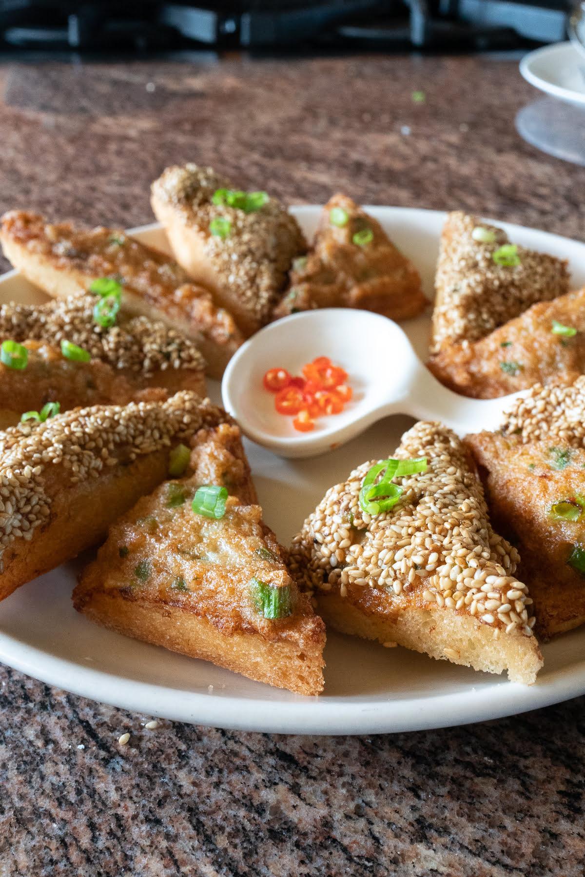 A plate of freshly fried Shrimp Toast.