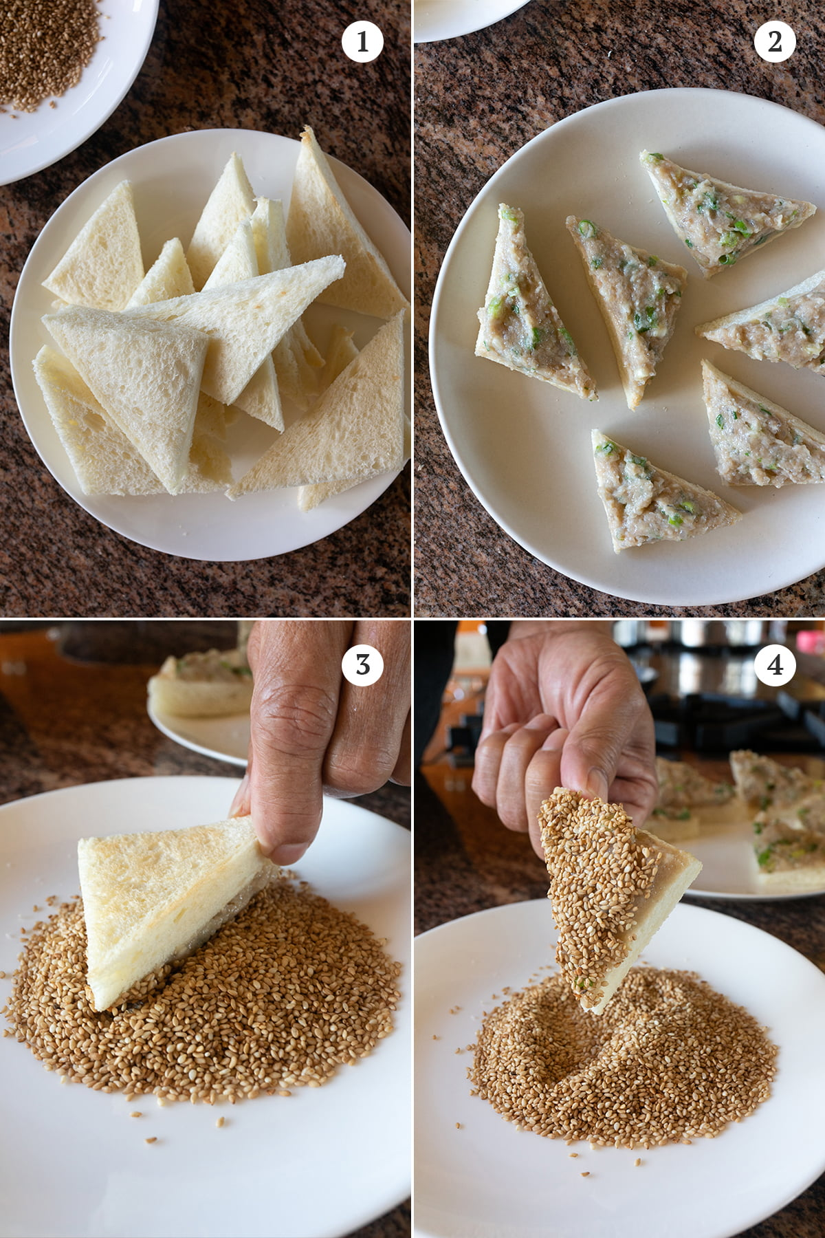 Collage of preparation steps: 1) cut the bread into triangles, 2) spread a thick layer of the shrimp paste onto the bread, 3) dip the bread (shrimp side down) onto a plate of sesame seeds, 4) make sure it is evenly coated.