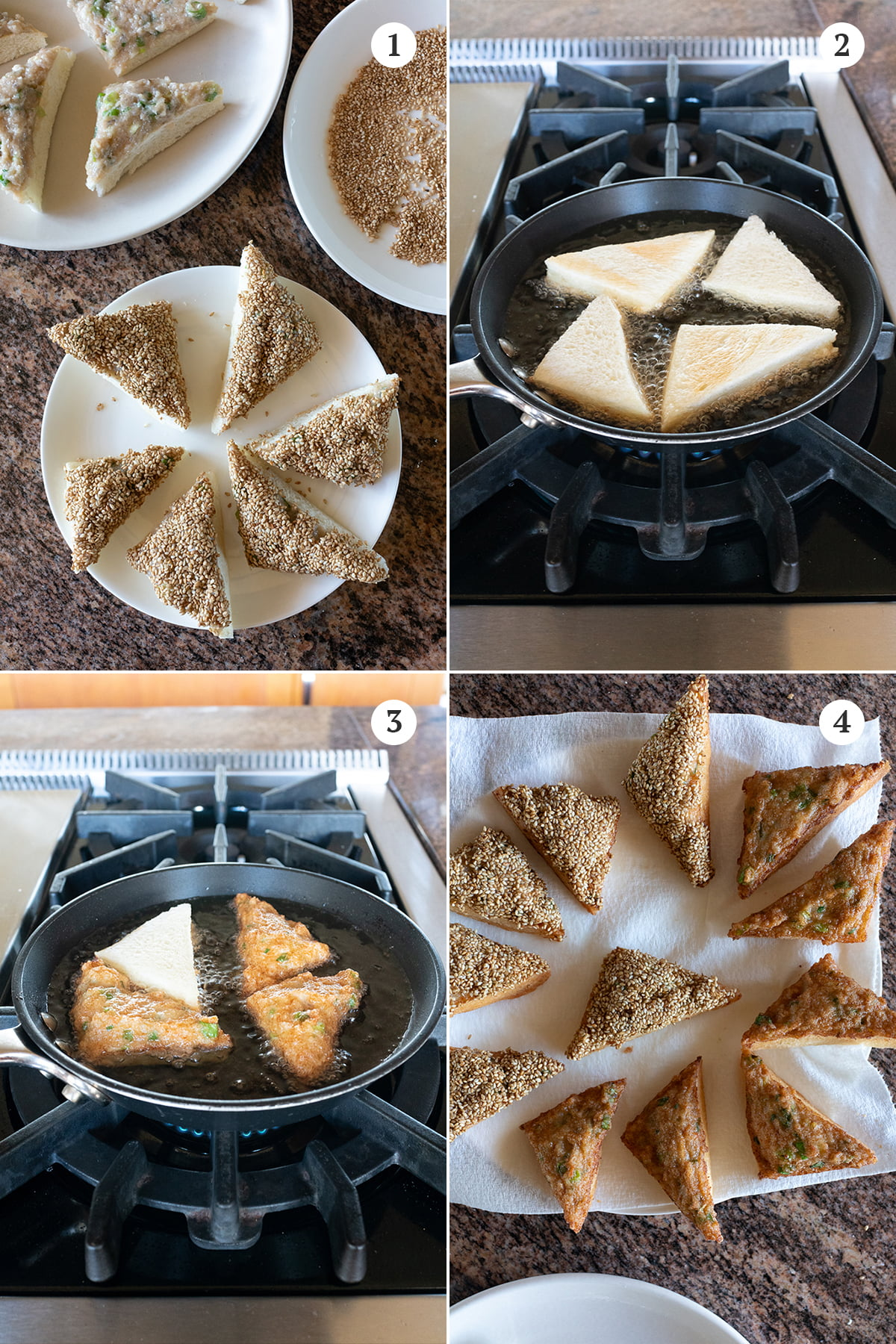 Collage of frying steps: 1) spread the shrimp paste on all the bread slices, 2) fry shrimp side down first, 3) fry bread side down second, 4) remove to paper towel lined plate.