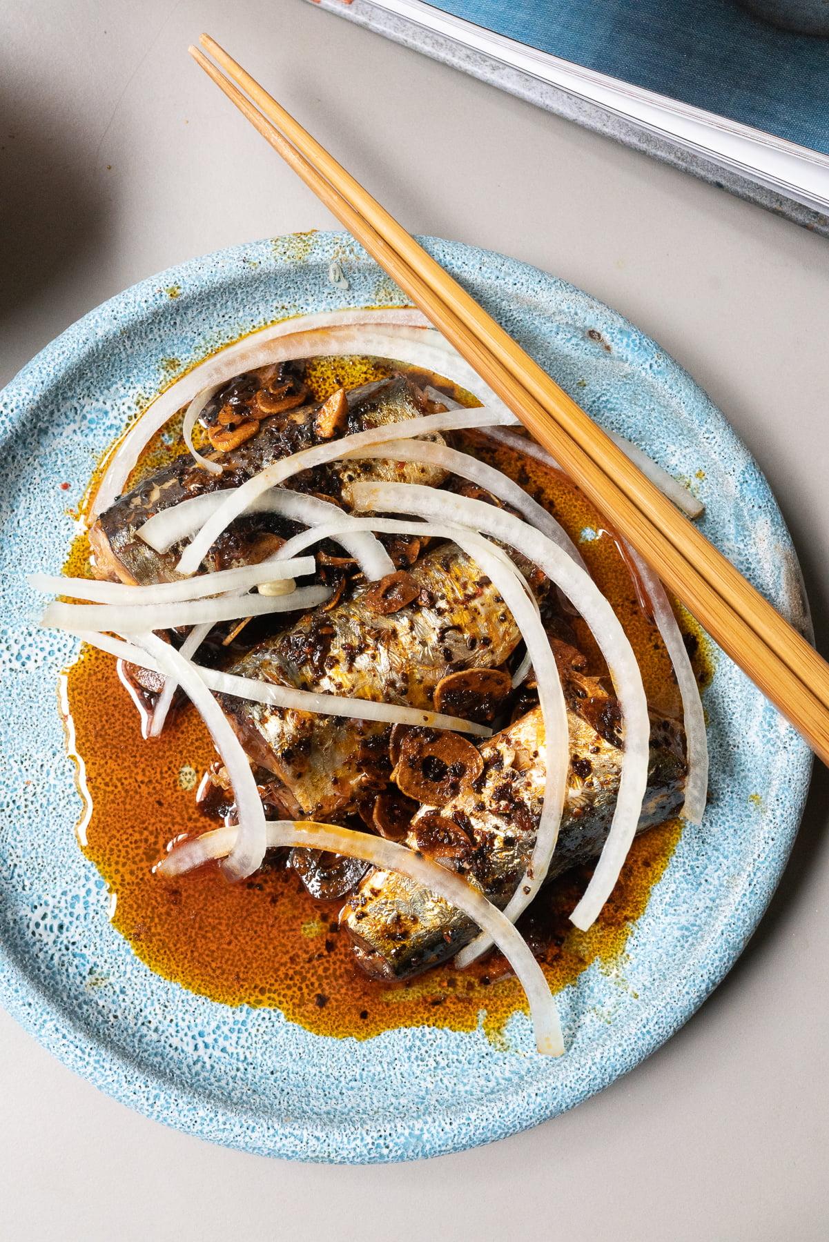 A plate of prepared Sardine Pupu, ready to eat!