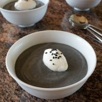 Bowls of black sesame pudding, ready to eat.