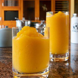 Two glasses of mango slush, ready to drink!