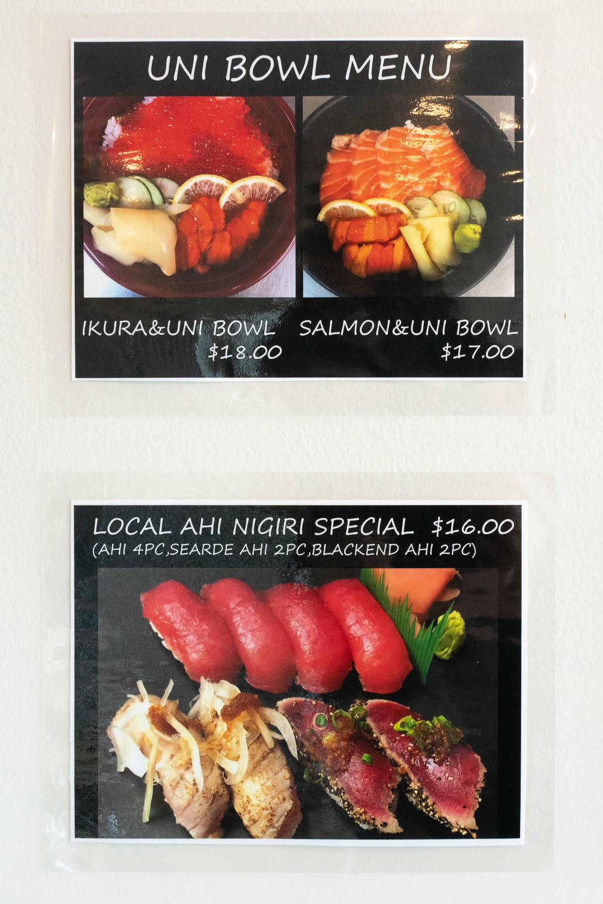Part of the menu at Hawaii Sushi.