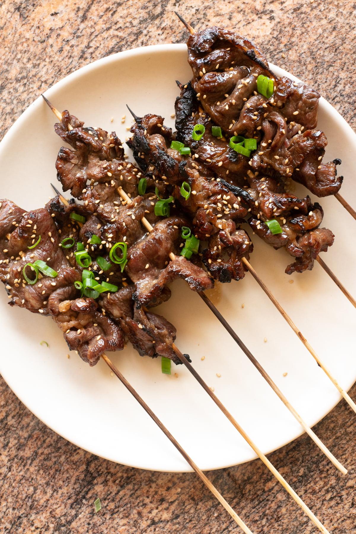Beef Teriyaki Sticks on a plate.
