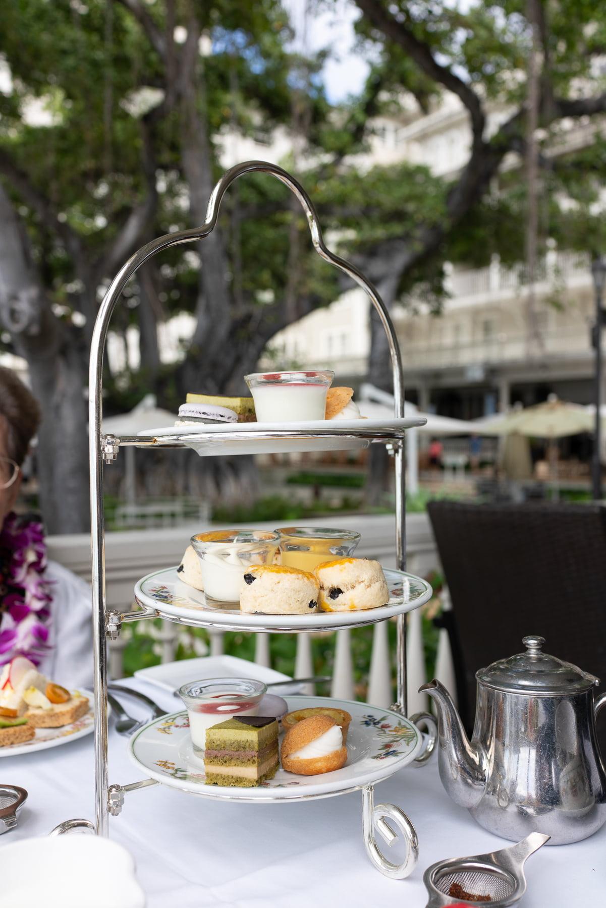 Afternoon tea set at Moana Surfrider
