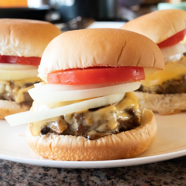 Teriyaki burger on a plate.